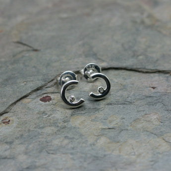 QUINN Silver Crescent & Diamond Ear Studs