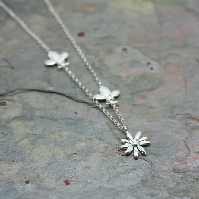 O f design silver bee and daisy bio necklace markadam jewellery o f design silver bee and daisy bio necklace aloadofball Images