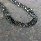MARIA Black Rhodium Plated Woven Silver Statement Necklace