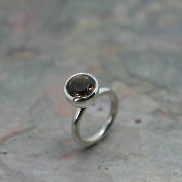 tina engell silver and smokey quartz cup ring