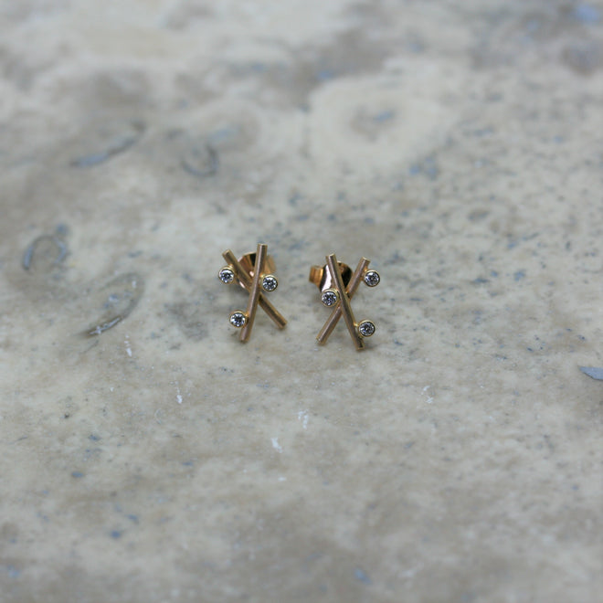 HENRICH & DENZEL 18ct Rose Gold & Diamond 'Dew' Stud Earrings