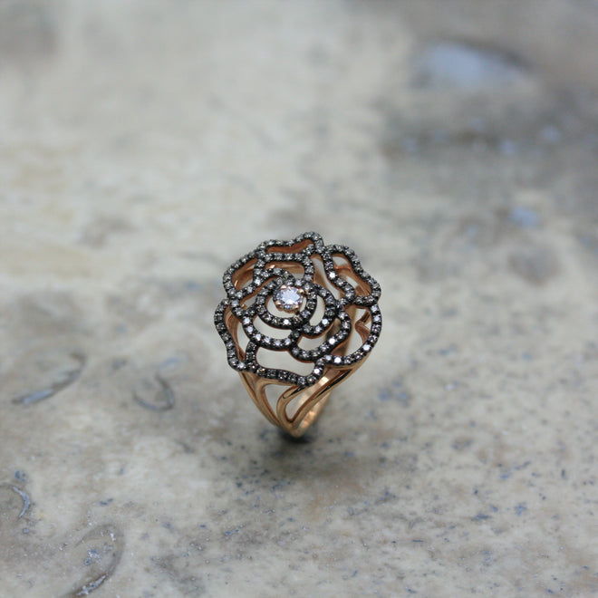 Fiore 18ct rose gold and diamond camelia ring