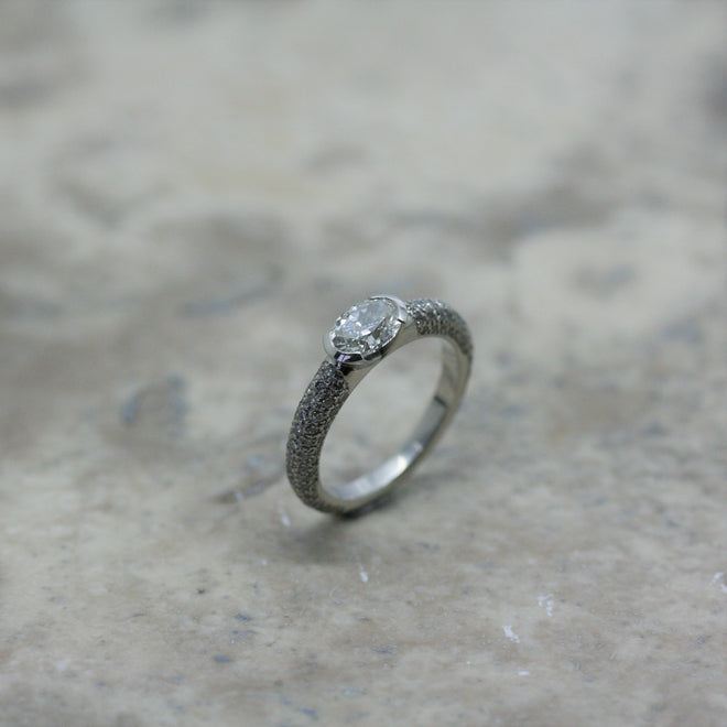 Adam 18ct White gold and diamond reveal ring