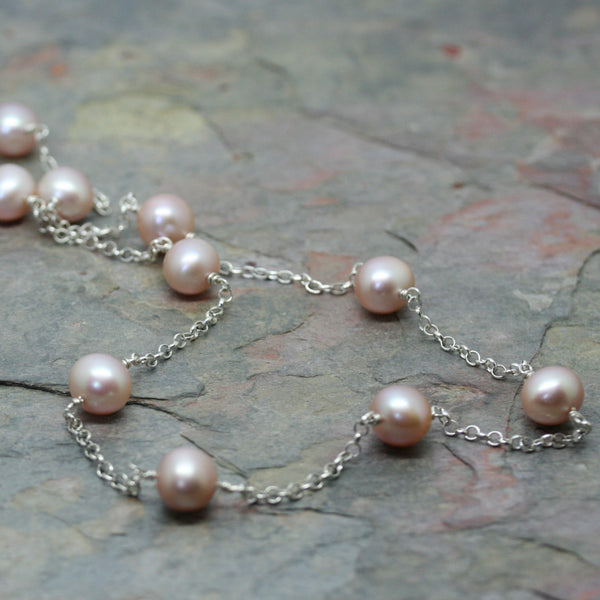 RAW Peach Cultured Pearl & Silver Chain Longline Necklace