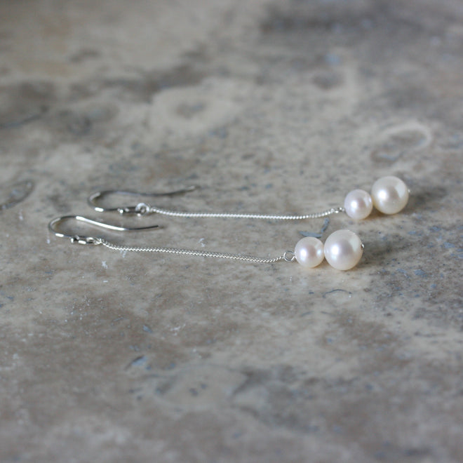 RAW Double Freshwater Pearl Drop Earrings