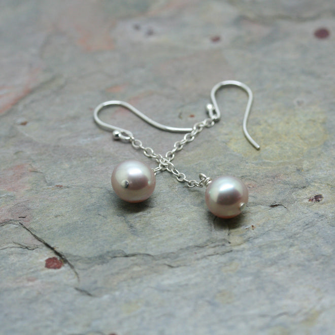 RAW Silver Drop Earrings with Blush Pink Freshwater Pearls