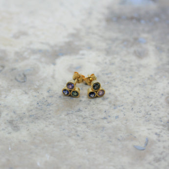REI 18ct Yellow Gold & Mixed Sapphire 'Trio' Earrings