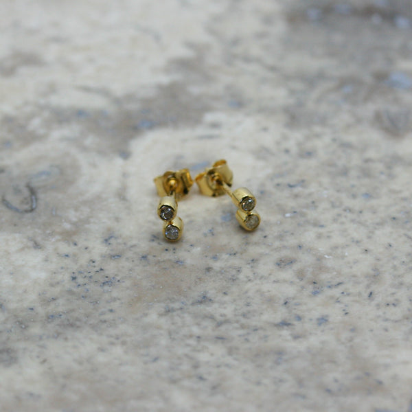 REI 18ct Yellow Gold & Diamond Ear Studs