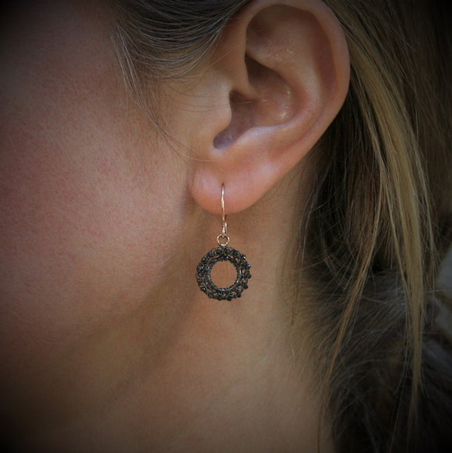 TERI HOWES 9ct Rose Gold & Black Diamond 'Circle' Earrings