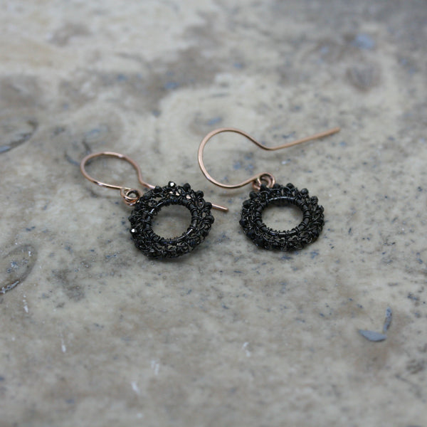TERI HOWES 9ct Rose Gold 'Circle' Black Diamond Earrings