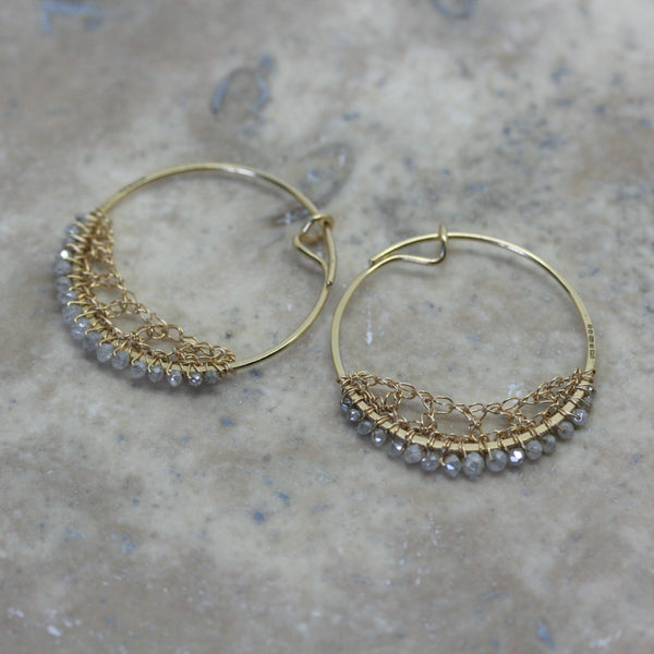 TERI HOWES 18ct Yellow Gold & Grey Diamond Crocheted  Hoops