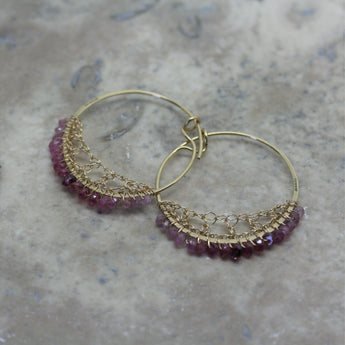 TERI HOWES 18ct Yellow Gold  & Ruby Bead Crocheted Hoops