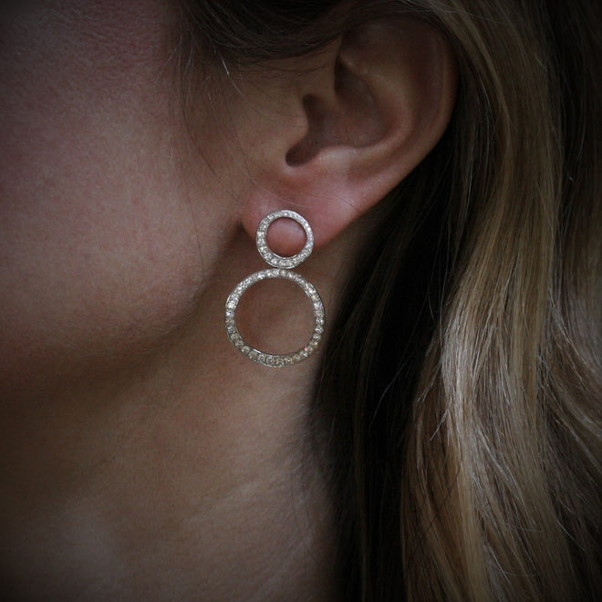 SOLEY 18ct White Gold & Diamond 'Double Circles' Earrings