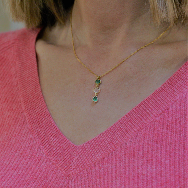 REI 18ct Yellow Gold, Emerald & Diamond Pendant