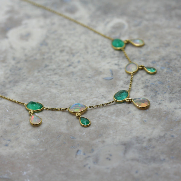 REI 18ct Yellow Gold, Emerald & Opal 'Art Deco Style' Necklace