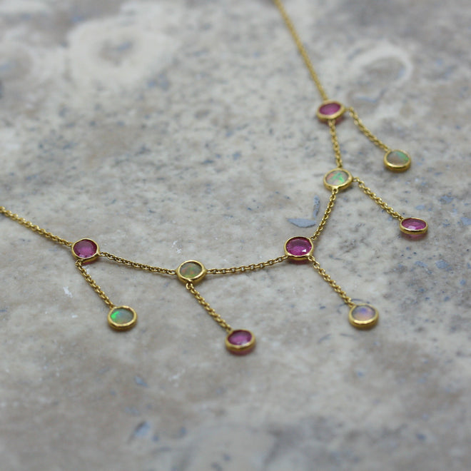 REI 18ct Yellow Gold, Opal & Ruby 'Fringe' Necklace