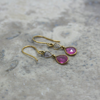 REI 18ct Yellow Gold, Diamond Slice & Rose Cut Ruby Earrings