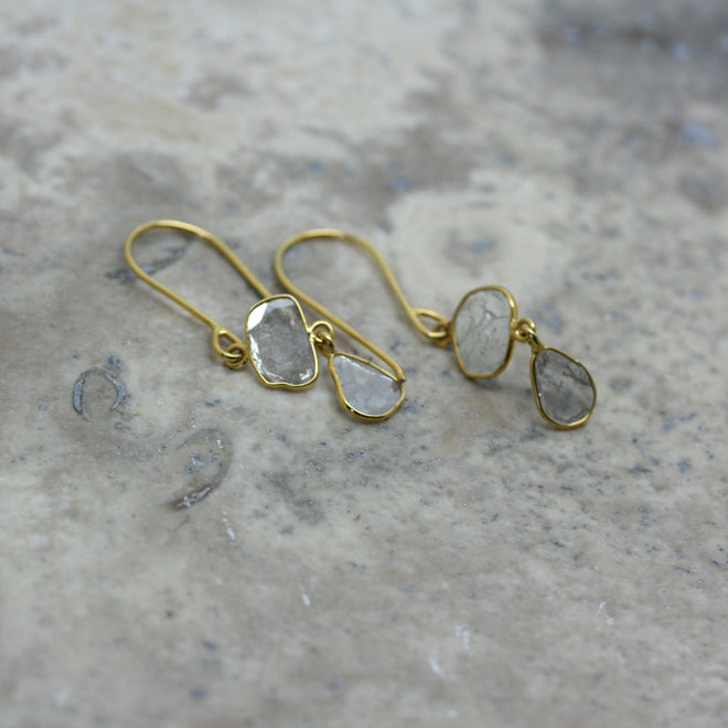 REI 18ct Yellow Gold & Diamond Slice Earrings