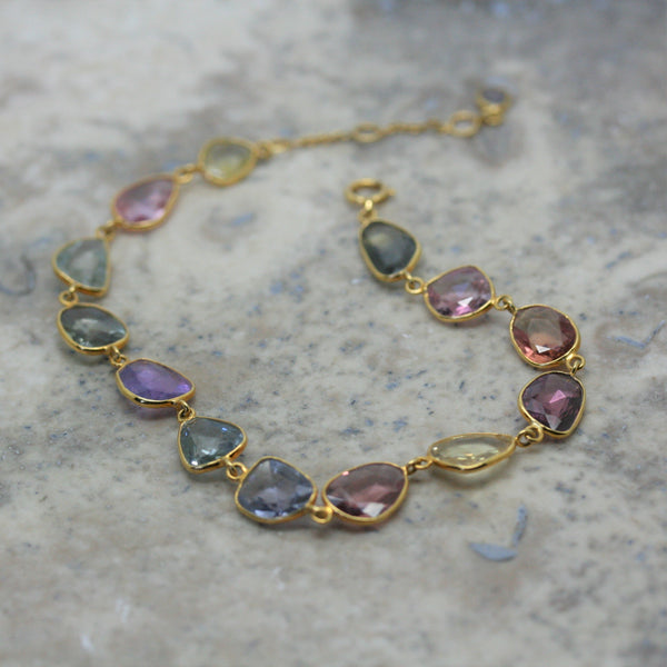 REI 18ct Yellow Gold Multi Coloured Sapphire Bracelet