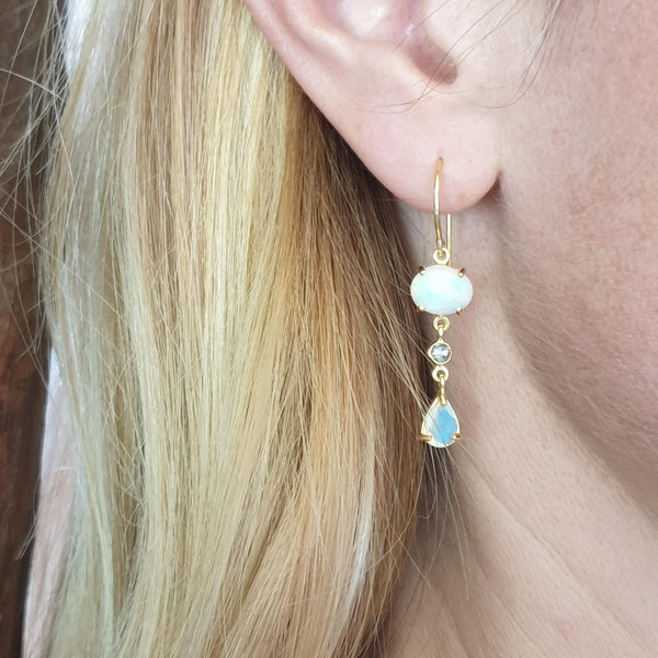 REI 18ct Yellow Gold, Opal & Diamond Drop Earrings