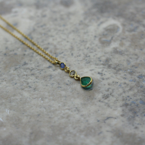 REI 18ct Yellow Gold, Sapphire, Diamond & Emerald Drop Necklace