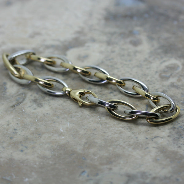 S & CO 18ct White & Yellow Gold Elliptical Link Bracelet