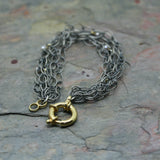SAN Oxidised Silver Gold Plated 'Link' Pearl Bracelet