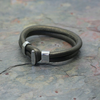 SAN Coloured Leather Bracelet with Steel Clasp