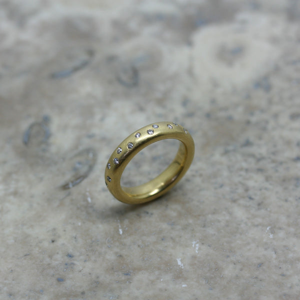 ADAM 18ct Yellow Gold & Diamond 'Spotty' Ring