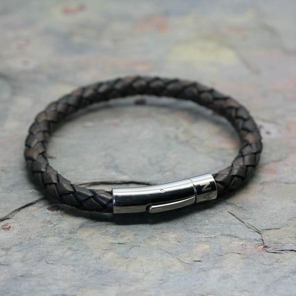 SAN Men's Plaited Leather Twist Bracelet