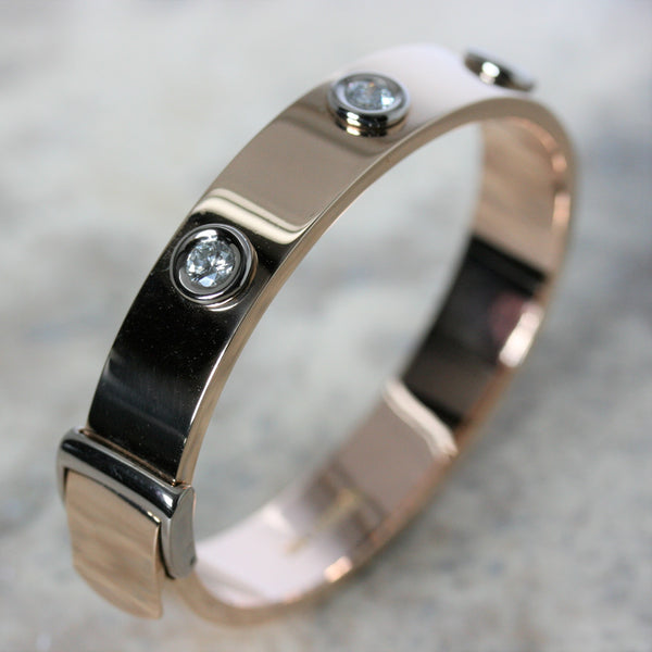 adam 18ct rose gold and diamond strap bangle