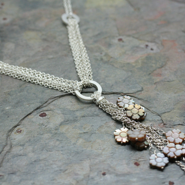 O F Design Silver and Mother of Pearl Flower Fall Necklace