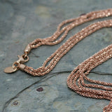 SAN Yellow Gold Plated Silver 'Triple Chain' Necklace