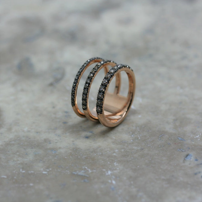 Fiore 18ct rose gold and diamond three bar ring