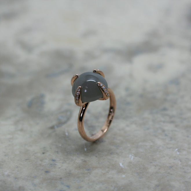 FIORE 18ct Rose Gold and Grey Moonstone Candy Baby Ring MarkAdam