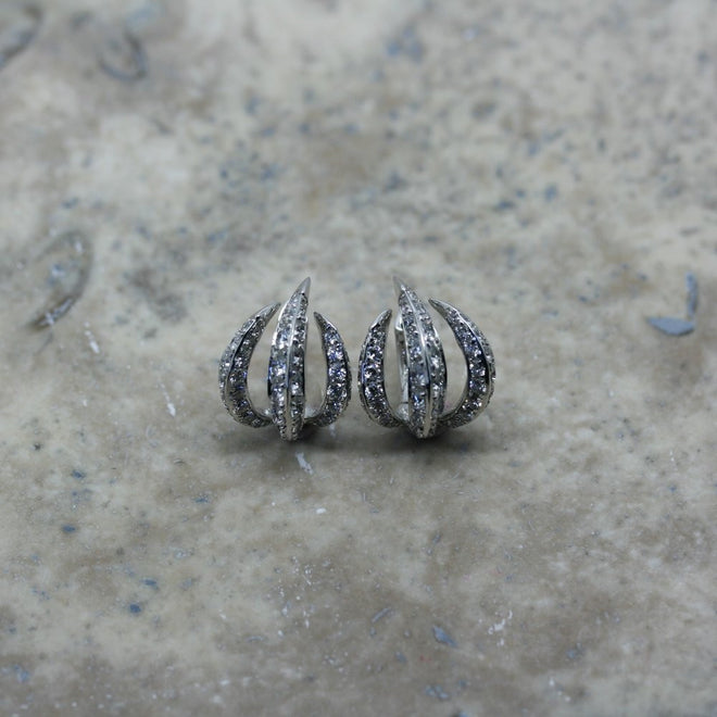 Rivoir 18ct White Gold Diamond Set Fierce Earrings