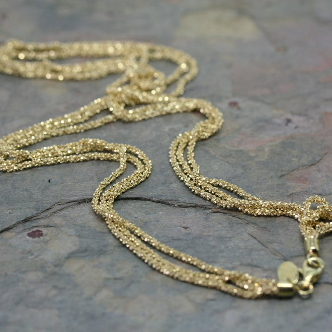 SAN Yellow Gold Plated Silver Triple Chain Necklace