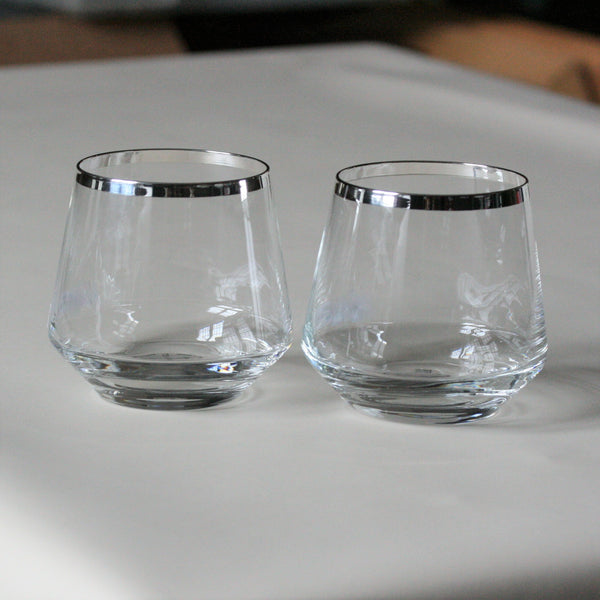 SONJA QUANDT Silver Edged Crystal 'Gin' Glasses