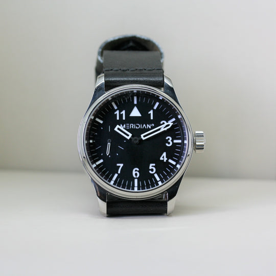 Meridian black wristwatch with leather strap