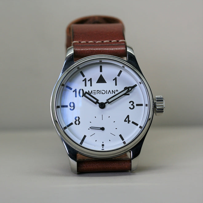Meridian antique finish wristwatch with brown leather strap
