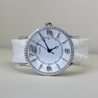 N.O.A. Automatic Diamond Set White Wristwatch with Rubber Strap