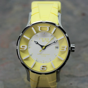 NOA yellow wristwatch with rubber strap