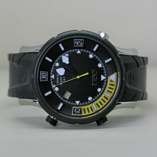 NOA automatic sports style wristwatch with black rubber strap
