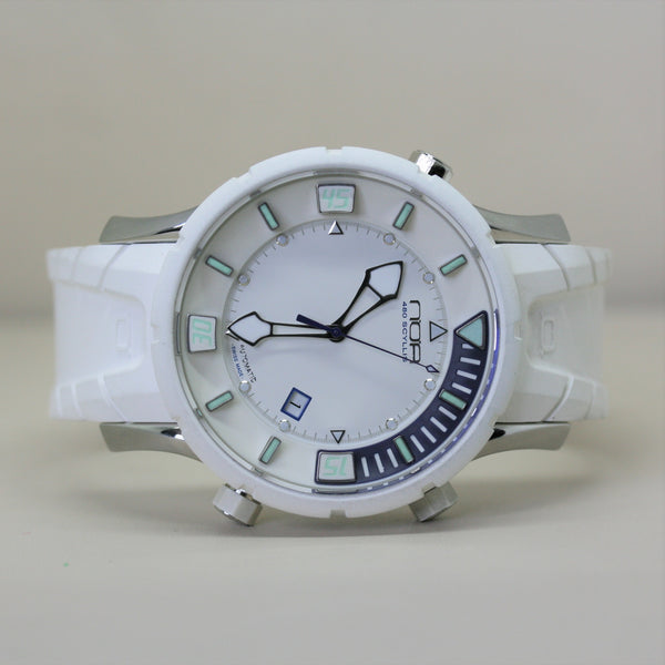 NOA Automatic white wristwatch with rubber strap