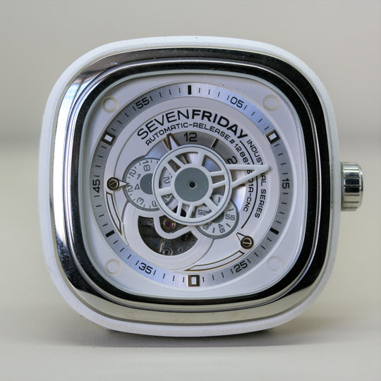 SEVENFRIDAY Automatic White Wristwatch with leather strap