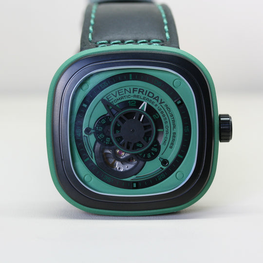 SEVENFRIDAY Automatic Green Wristwatch with leather strap