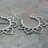 SASHA  Silver 'Flower' Hoop Earrings