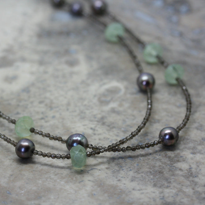 ADAM Tahitian Pearl, Prehnite & Smokey Quartz Longline Necklace