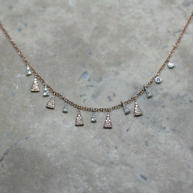 MEIRA T 14ct Rose Gold and Diamond 'Two Tone' Necklace