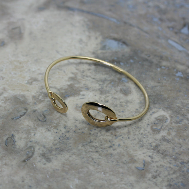 S & CO 18ct Yellow Gold 'Double Oval' Open Bangle